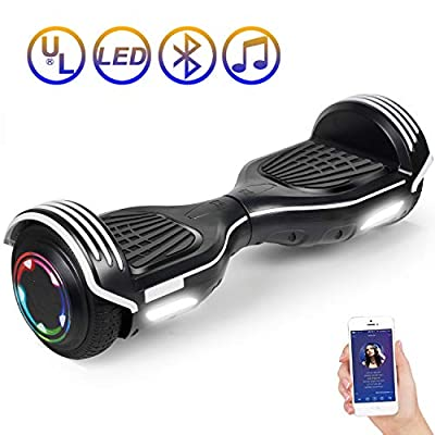 "SISIGAD Hoverboard Bluetooth Self Balancing Scooter 6.5"" Two-Wheel with Speaker and LED Lights for Adult Kids Gift UL 2272 Certified"